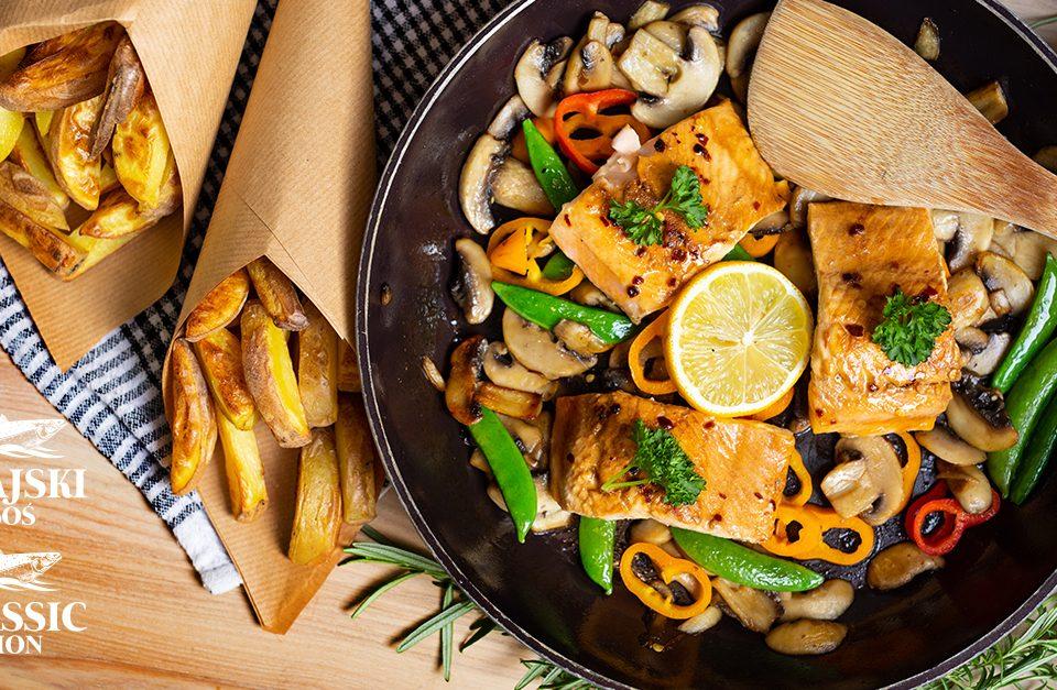 łosoś, frytki, fish and chips
